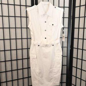 NWT - Calvin Klein White Belted Utility Dress